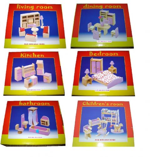 Dolls House Furniture Sets in Pink  X 6
